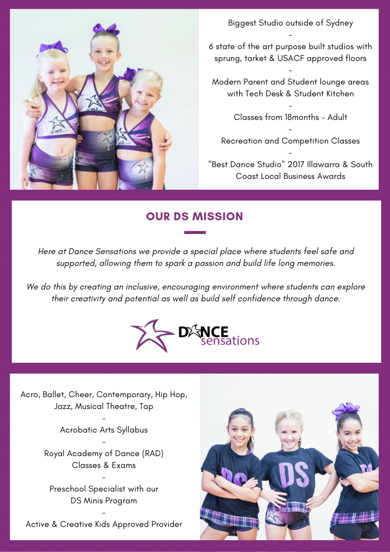 Read some information about who we are and what we do here at Dance Sensations. Included is dance class information and our mission statement.