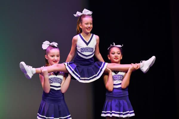 Cheerleading class performing on stage at dance concert